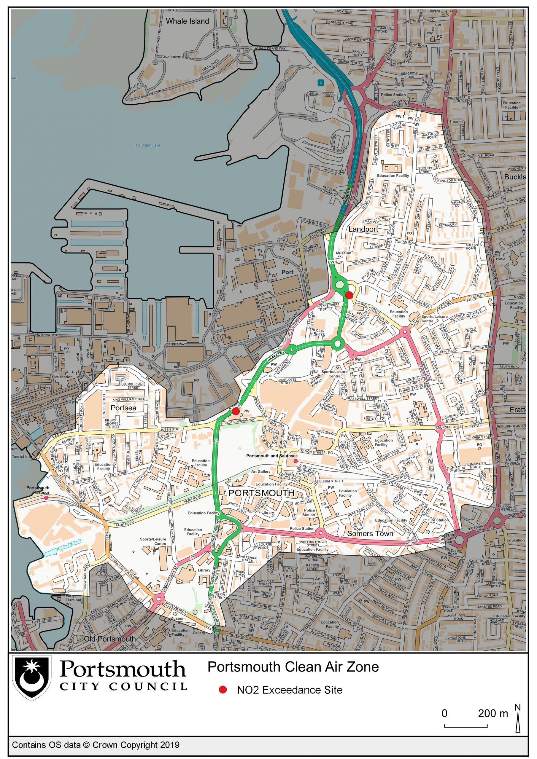 Map to show the Clean Air Zone boundary and NO2 Exceedance Sites in Portsmouth